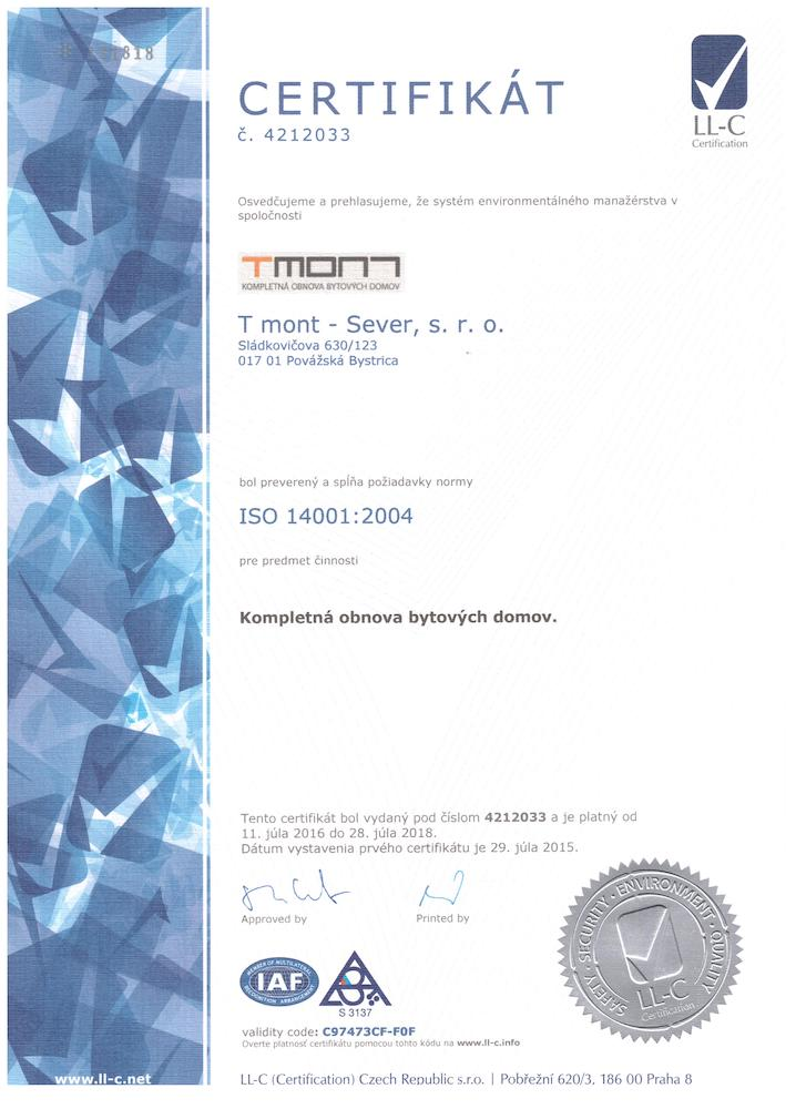 ISO 14001 Certifikát