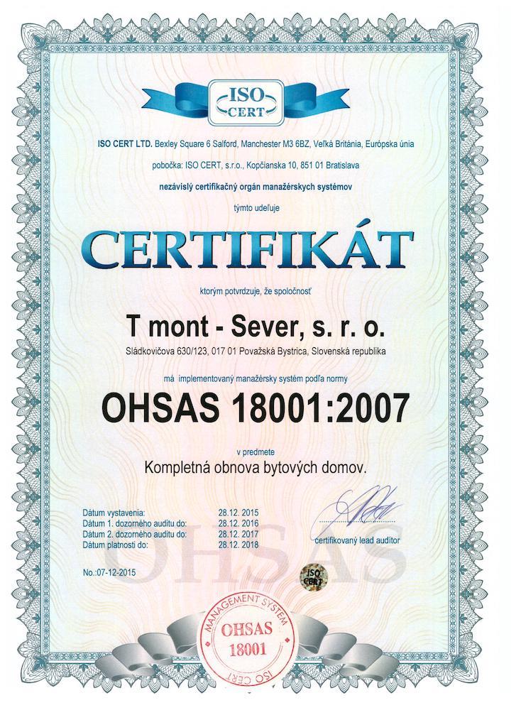 OHSAS 18001 Certifikát